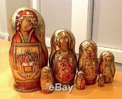 Russian Religious Nesting Doll Holy Faces 7 Pcs Signed 9