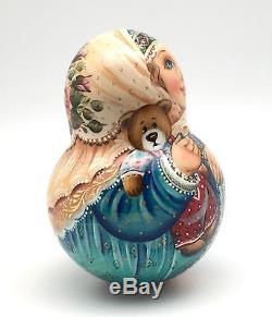 Russian Roly Poly Hand Carved Hand Painted no Nesting DOLL