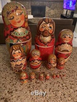 Russian Sergiev Posad Wooden Nesting Dolls -15 Red Floral Bird Jewels -2006