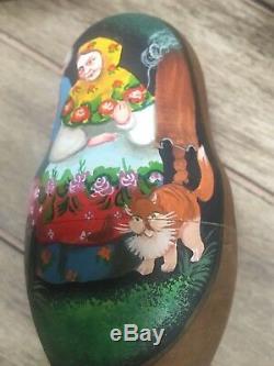 Russian Three Sisters Fairy Tale Wood Nesting Matryoshka Doll Artist Painted 97