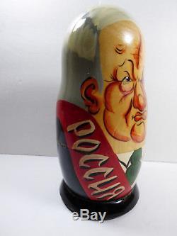 Russian USSR Soviet Political Leaders Tzar Wood Nesting Doll Matryoshka 7 pc set