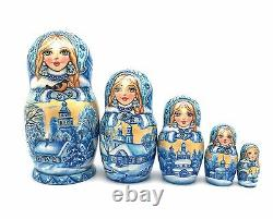 Russian Winter Hand Carved Hand Painted UNIQUE Nesting Doll Set