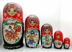 Russian Winter Troika story Hand Carved Hand Painted Nesting Doll set 7 tall