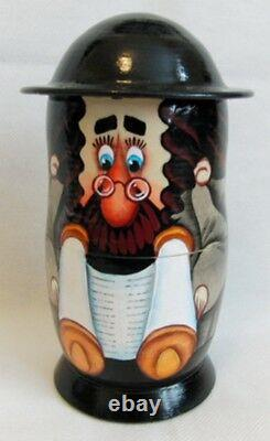 Russian Wooden Matryoshka Nesting Doll Jewish Family Torah Scroll 16cm 5 Pcs