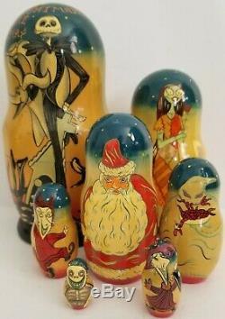 Russian Wooden Nesting Dolls 8 Matryoshka Hand-painted Artist Signed Disney Htf