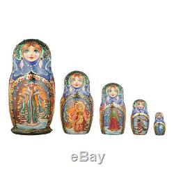 Russian Wooden Nesting Dolls hand painted Matryoshka 5 pcs Set Winter 6'' MW011