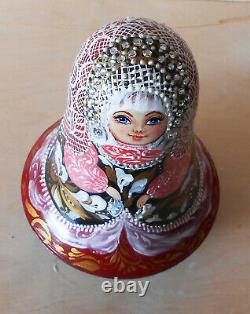 Russian doll matryoshka Roly poly musical toy wooden with bell in russian style