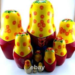 Russian dolls 10 pcs Nesting Matryoshka Babushka Stacking Wooden new toy 9 inch