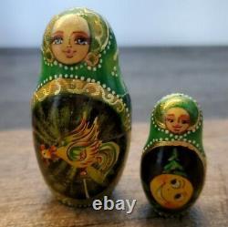 Russian dolls Nesting doll Pushkin fairy tales Wooden matryoshka 7 Piece, EUC