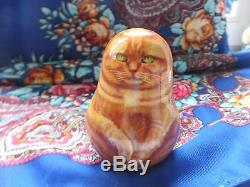 Russian matryoshka 3d tumbler doll babushka cat handmade exclusive