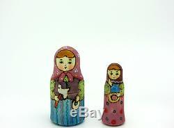 Russian matryoshka Nesting Dolls 5 MATT HAND PAINTED TRADITIONAL Karavay RYABOVA