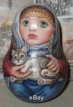 Russian matryoshka babushka doll roly-poly beauty girl cat handmade exclusive