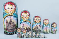 Russian matryoshka doll Saint-Petersburg handmade exclusive