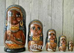 Russian matryoshka doll nesting babushka Afrika handmade