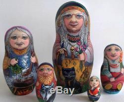 Russian matryoshka doll nesting babushka Baba Yaga handmade exclusive