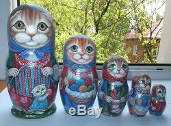 Russian matryoshka doll nesting babushka Cats knitting handmade exclusive