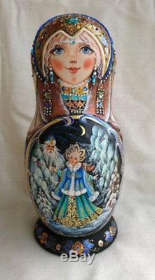 Russian matryoshka doll nesting babushka Christmas tales handmade exclusive