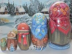 Russian matryoshka doll nesting babushka Christmas winter handmade exclusive