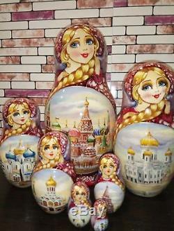Russian matryoshka doll nesting babushka Moscow winter handmade exclusive