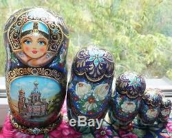 Russian matryoshka doll nesting babushka Saint Petersburg handmade exclusive