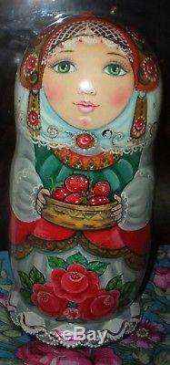 Russian matryoshka doll nesting babushka Strawberry handmade exclusive