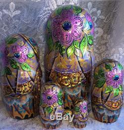 Russian matryoshka doll nesting babushka Tales handmade exclusive