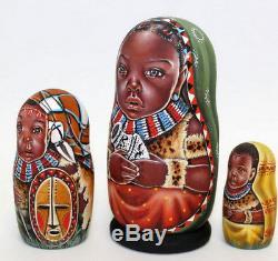 Russian matryoshka doll nesting babushka beauty Afrika handmade exclusive