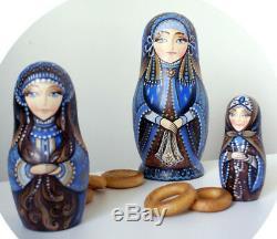 Russian matryoshka doll nesting babushka beauty Blue handmade exclusive