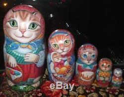 Russian matryoshka doll nesting babushka beauty Cats Easter handmade exclusive