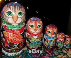 Russian matryoshka doll nesting babushka beauty Cats fish handmade exclusive