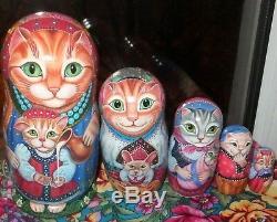 Russian matryoshka doll nesting babushka beauty Cats kitty handmade exclusive