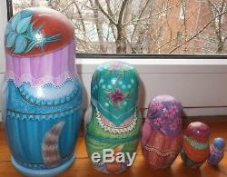 Russian matryoshka doll nesting babushka beauty Cats ladies handmade exclusive
