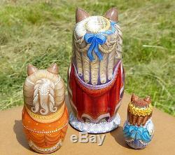 Russian matryoshka doll nesting babushka beauty Cats lady handmade exclusive