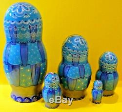 Russian matryoshka doll nesting babushka beauty Christmas winter blue handmade