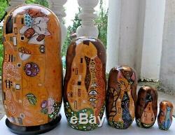Russian matryoshka doll nesting babushka beauty Gustav Klimt Cats gold handmade