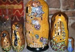 Russian matryoshka doll nesting babushka beauty Gustav Klimt Cats handmade
