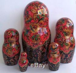 Russian matryoshka doll nesting babushka beauty Khokhloma handmade exclusive