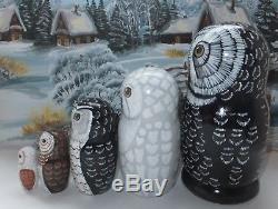 Russian matryoshka doll nesting babushka beauty Owls handmade