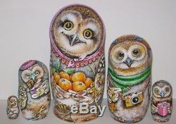 Russian matryoshka doll nesting babushka beauty Owls handmade exclusive
