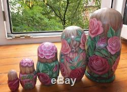 Russian matryoshka doll nesting babushka beauty Rose handmade exclusive