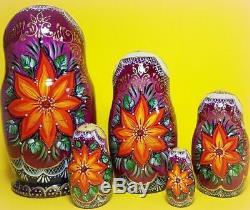 Russian matryoshka doll nesting babushka beauty Tales flower handmade