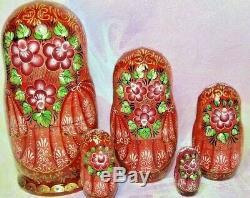 Russian matryoshka doll nesting babushka beauty Tales red handmade