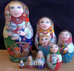 Russian matryoshka doll nesting babushka beauty animals handmade exclusive