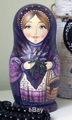 Russian matryoshka doll nesting babushka beauty berries handmade exclusive