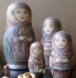 Russian matryoshka doll nesting babushka beauty birds handmade exclusive