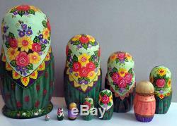 Russian matryoshka doll nesting babushka beauty chickens handmade exclusive