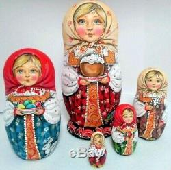 Russian matryoshka doll nesting babushka beauty girl Easter handmade exclusive