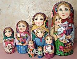Russian matryoshka doll nesting babushka beauty girl animals handmade exclusive
