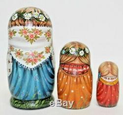 Russian matryoshka doll nesting babushka beauty girl cats handmade exclusive