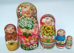 Russian matryoshka doll nesting babushka beauty girl flower handmade exclusive